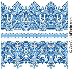 seamless ethnic floral paisley stripe pattern, border set,...
