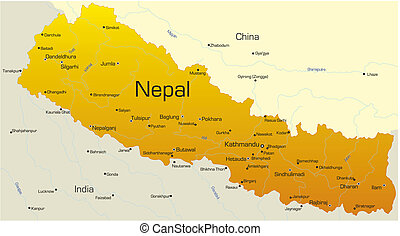 Nepal country - Vector map of Nepal country
