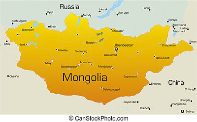 Mongolia - Vector map of Mongolia country