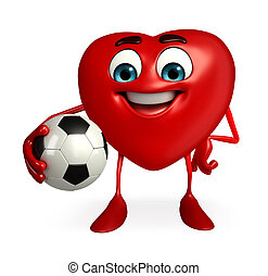Heart Shape character with foot ball - Cartoon Character of...
