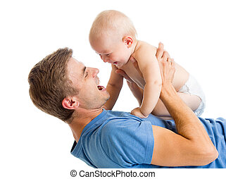 playful father and baby son having fun
