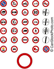 Vector traffic signs on white background