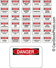Red vector danger signs on white background