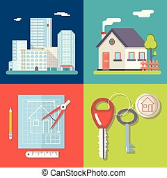 Retro Real Estate Symbols Private House Construction Plan Keys Set City Apartment Icons Trendy Modern Flat Design Template Vector Illustration