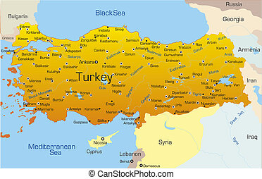 Turkey country - Vector map of Turkey country