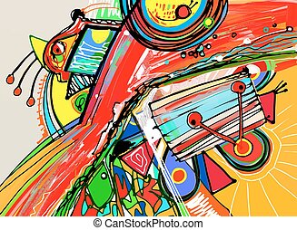 incomum,  Illustr, abstratos, Composição, vetorial,  digital, quadro