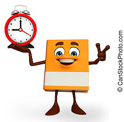 Book Character with table clock - Cartoon Character of Book...