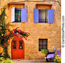 Greek house front - Stone house in the Old Town of Rhodes