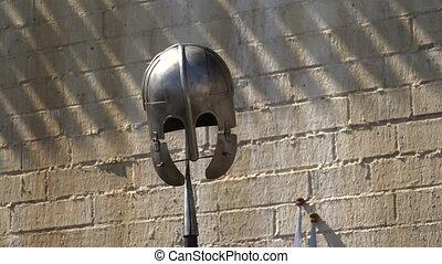 Viking helmet. Spear. 4K. - Viking helmet. Spear. Medieval...