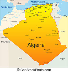 Algeria country - Abstract vector color map of Algeria...