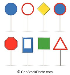blank traffic sign set one vector illustration