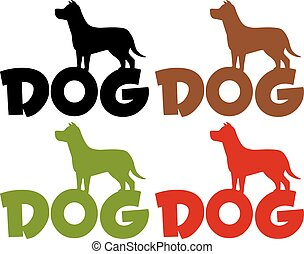 Dog Silhouette Over Text Collection