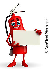 Fire Extinguisher character with sign - Cartoon Character of...