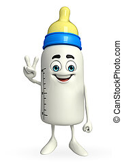 Baby Bottle character with Victory sign - Cartoon Character...