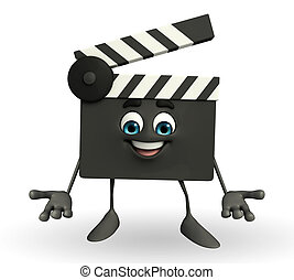 Clapper Board Character - Cartoon Character of Clapper Board...