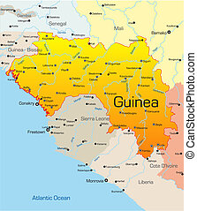 Guinea country - Abstract vector color map of Guinea country