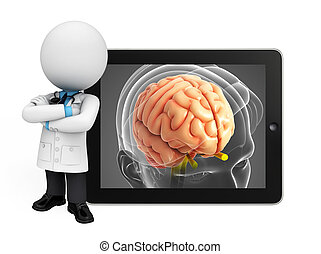 Young doctor with brain anatomy - Illustration of young...