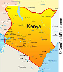 Kenya country - Abstract vector color map of Kenya country