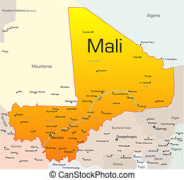 Mali country - Abstract vector color map of Mali country