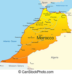 Morocco country - Abstract vector color map of Morocco...