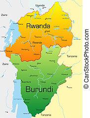 Rwanda and Burundi - Abstract vector color map of Rwanda and...
