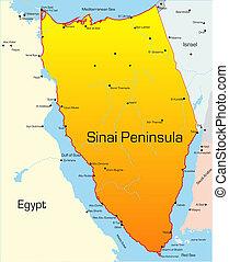 Sinai Peninsula - Abstract vector color map of Sinai...