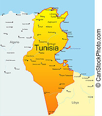Tunisia  - Abstract vector color map of Tunisia country
