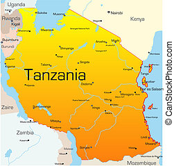 Tanzania  - Abstract vector color map of Tanzania country