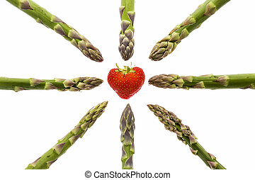 Eight Asparagus Tips Pointing at One Strawberry - Eight...