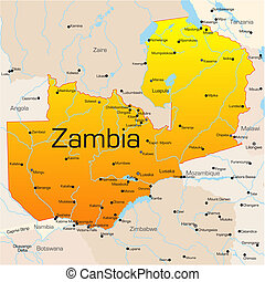 Zambia - Abstract vector color map of Zambia country