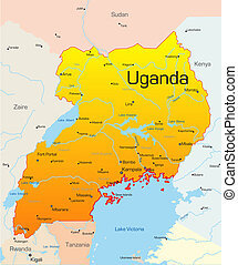Uganda  - Abstract vector color map of Uganda country