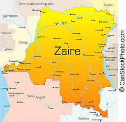 Zaire  - Abstract vector color map of Zaire country