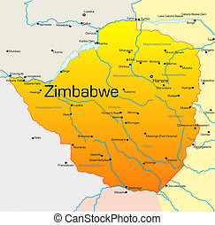 Zimbabwe - Abstract vector color map of Zimbabwe country