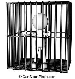 man jailed - funny man prisoner in a jail generated 3D