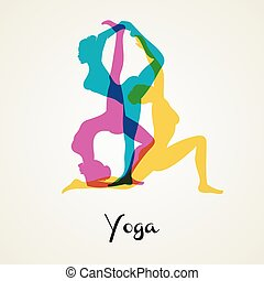 Yoga poses silhouette - Vector illustration of Yoga poses...