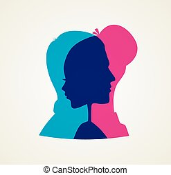 Couple's silhouette - Vector illustration of Couple's...