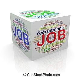 3d cube word tags wordcloud of job - 3d rendering of cube...