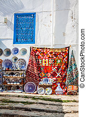 Colorful oriental pottery bazaar (Tunisia)