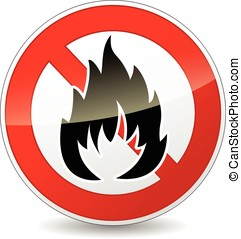 No fire icon - Illustration of no fire round icon on white...