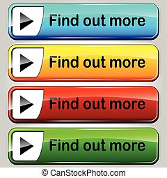 find out more buttons - illustration of colorful find out...