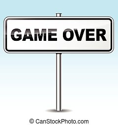 Game over sign - Illustration of game over sign on sky...