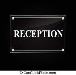 Reception sign - Illustration of reception sign on black...