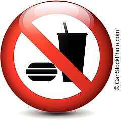 no eating and drinking round sign - Illustration of no...