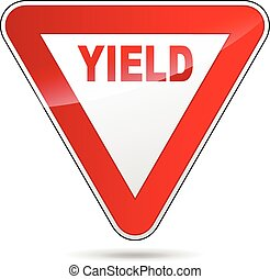 Yield sign - Illustration of yield sign on white background