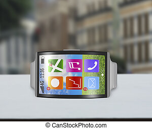 ultra-lightweight bent interface smartwatch horizontal with...