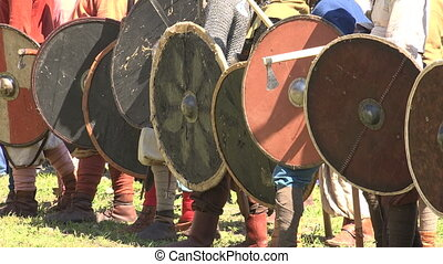 A battle The fight of the Vikings Medieval warriors Shot in...