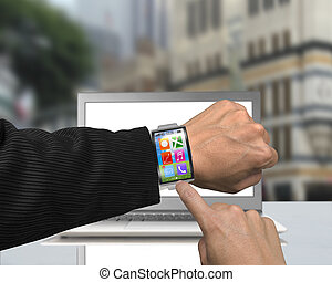 businessman hand wearing smartwatch with bent interface on...
