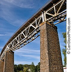 Steel truss bridge - Steel truss railroad bridge, Velke...