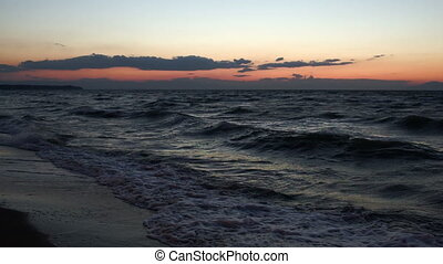 Scene of strong sea surf at sunset - Nature scene of rough...