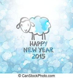 vector sheep - vector hand drawn sheep, happy new year 2015